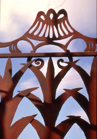 closeup of pineapple style leaf pattern in gate of paradise
